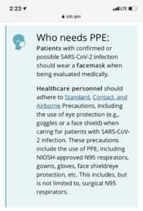 Who needs PPE according to CDC